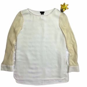 THEORY WHITE LONG SLEEVE TOP